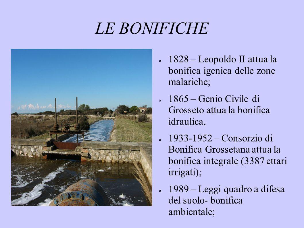 LE BONIFICHE 1828 – Leopoldo II attua la bonifica igenica delle zone malariche; 1865 – Genio Civile di Grosseto attua la bonifica idraulica,