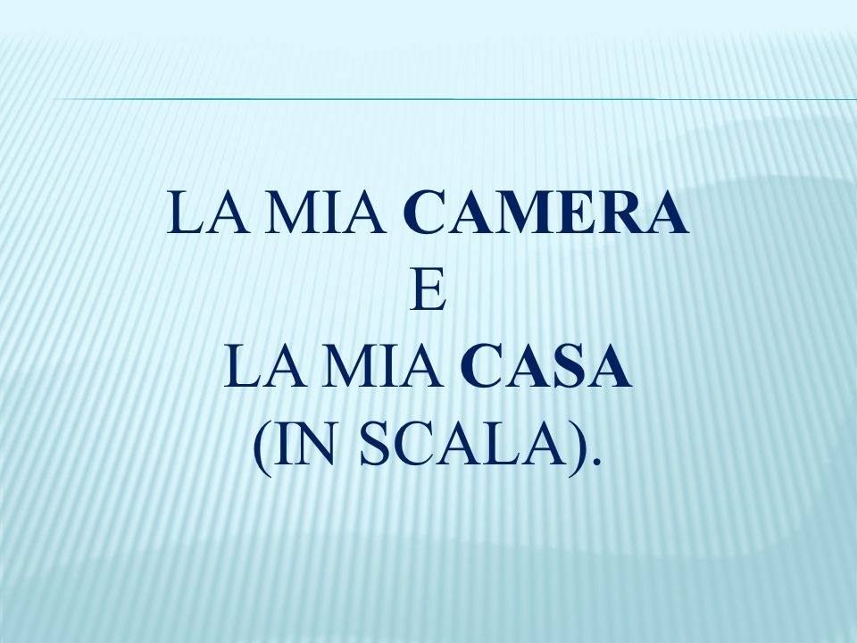 LA MIA CAMERA E LA MIA CASA (IN SCALA).
