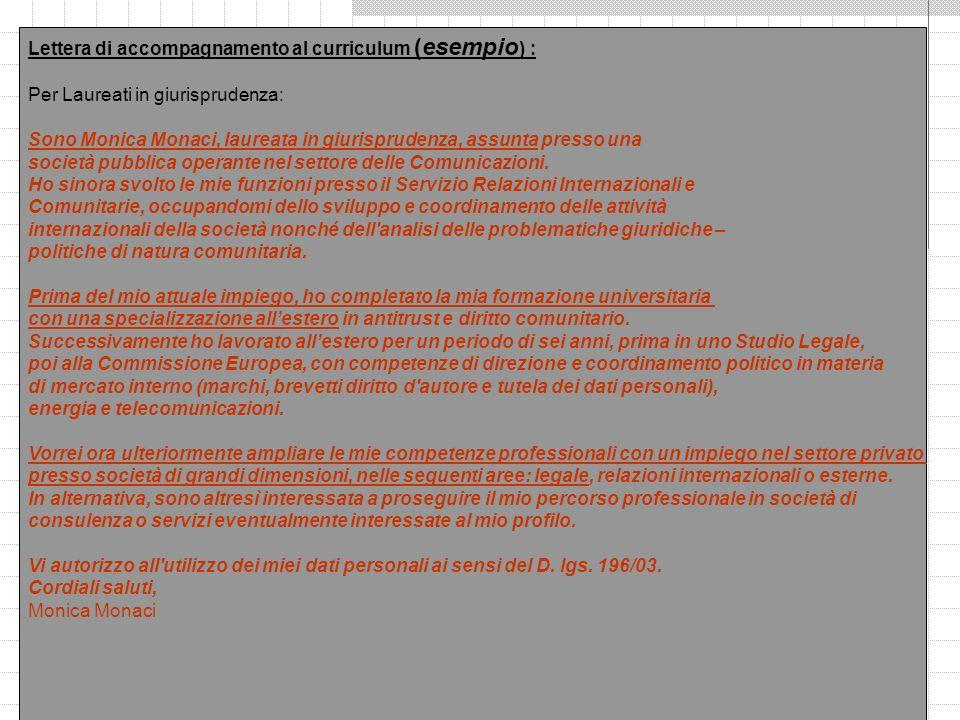 Lettera di accompagnamento al curriculum (esempio) :
