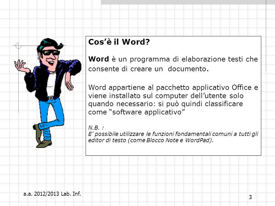 Cos'è il Word Word è un programma di elaborazione testi che consente di creare un documento.