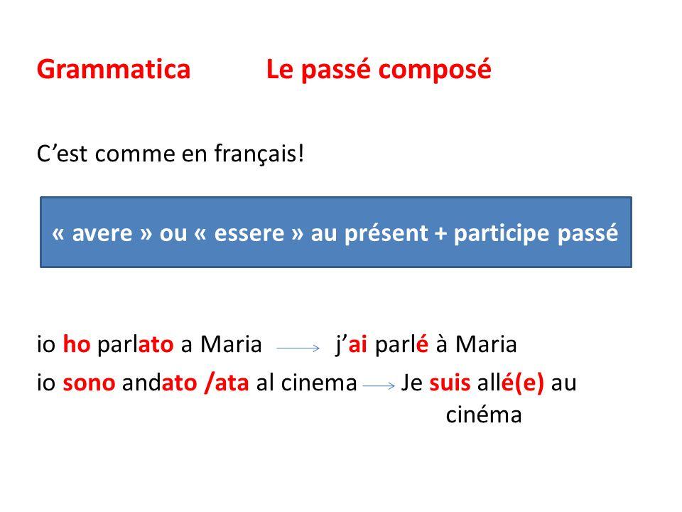 « avere » ou « essere » au présent + participe passé
