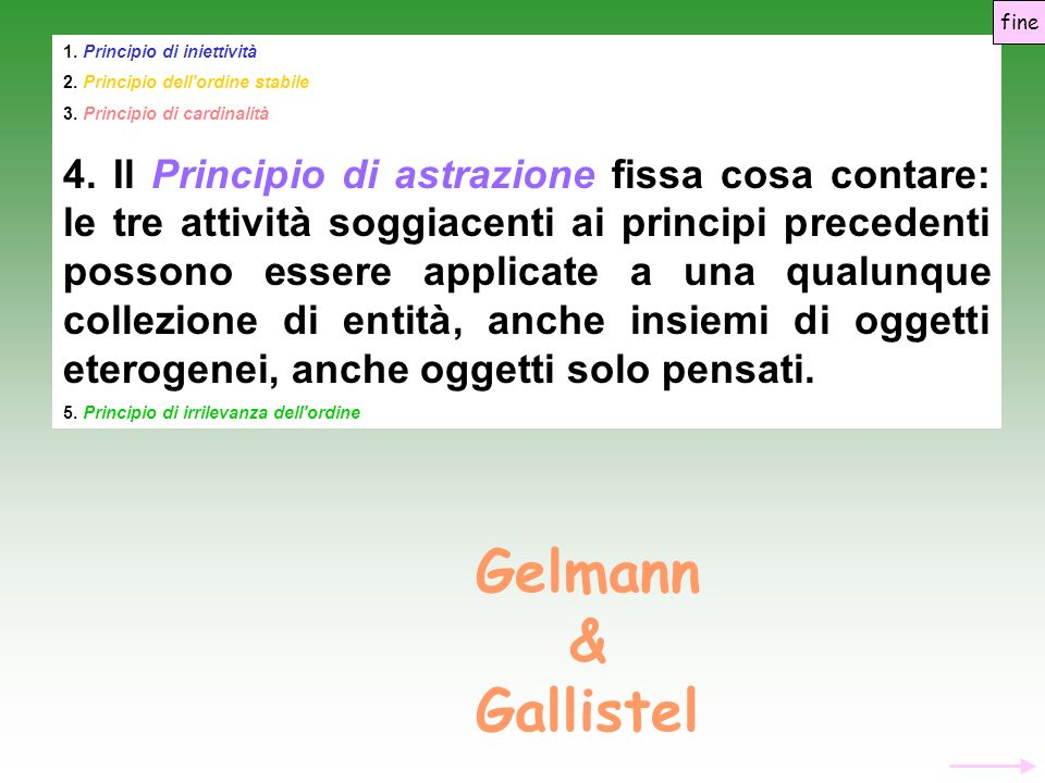fine 1. Principio di iniettività. 2. Principio dell ordine stabile. 3. Principio di cardinalità.