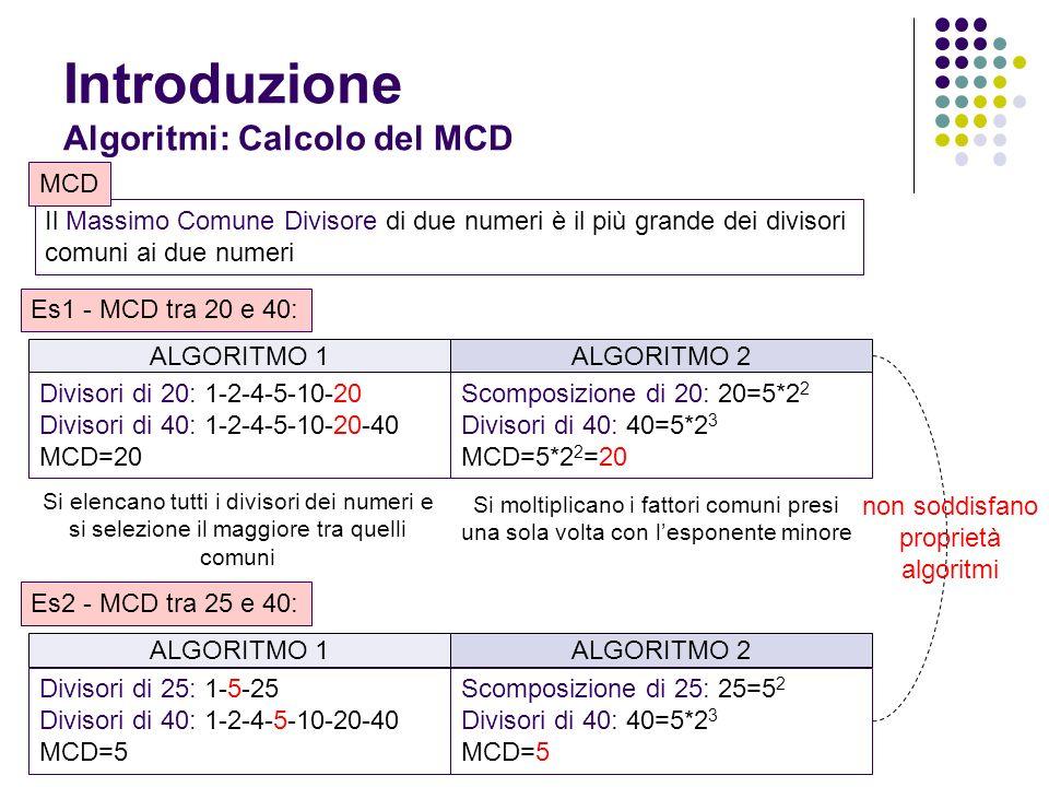 Introduzione Algoritmi: Calcolo del MCD