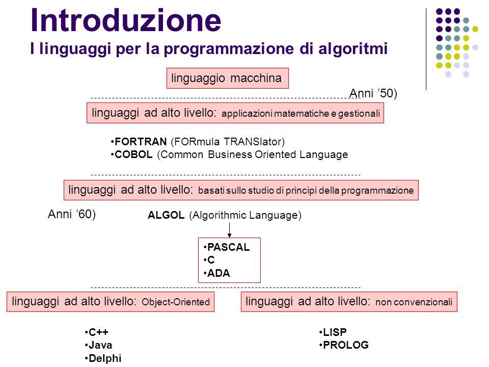 Introduzione I linguaggi per la programmazione di algoritmi