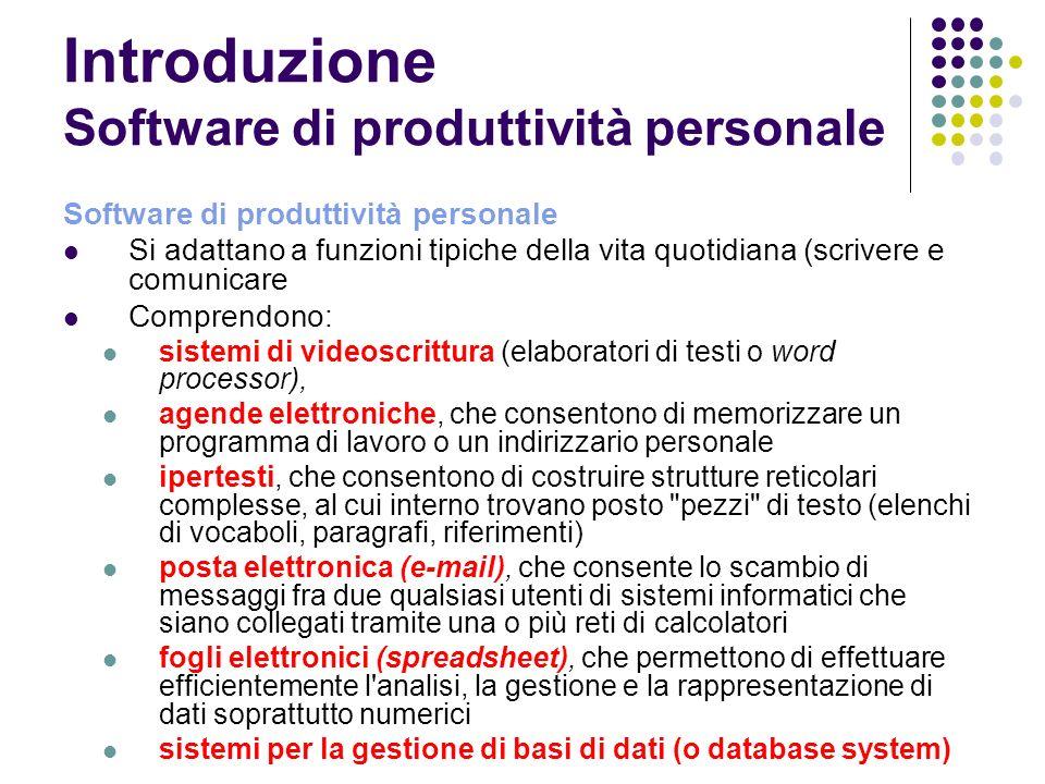 Introduzione Software di produttività personale