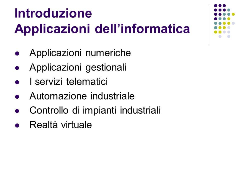 Introduzione Applicazioni dell'informatica