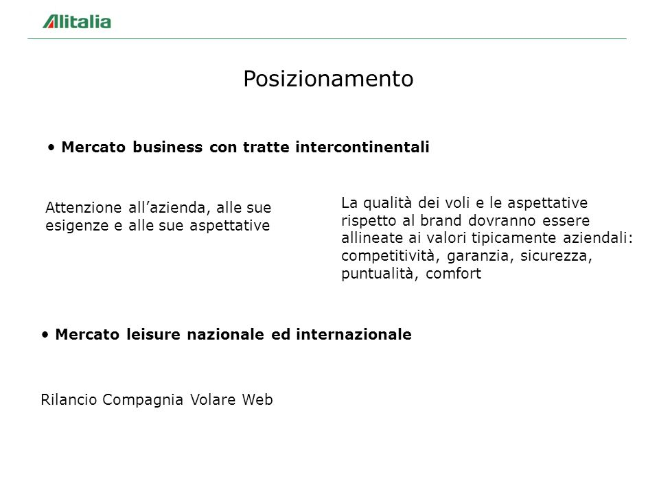 Mercato business con tratte intercontinentali