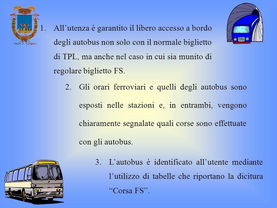 All'utenza è garantito il libero accesso a bordo degli autobus non solo con il normale biglietto di TPL, ma anche nel caso in cui sia munito di regolare biglietto FS.