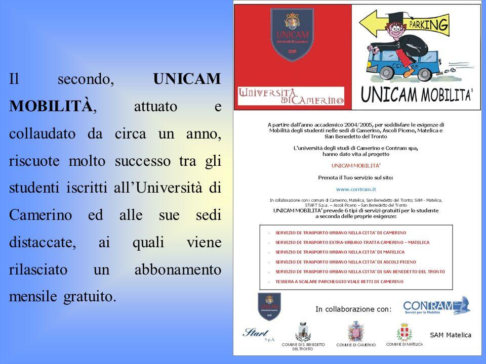 Il secondo, UNICAM MOBILITÀ, attuato e collaudato da circa un anno, riscuote molto successo tra gli studenti iscritti all'Università di Camerino ed alle sue sedi distaccate, ai quali viene rilasciato un abbonamento mensile gratuito.