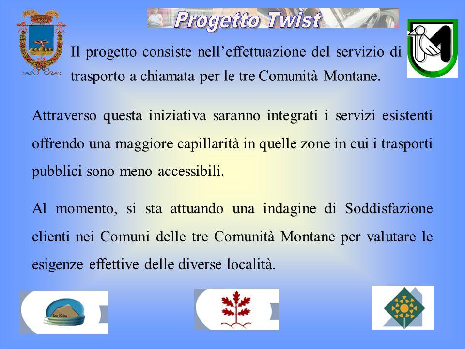 Progetto TwistIl progetto consiste nell'effettuazione del servizio di trasporto a chiamata per le tre Comunità Montane.