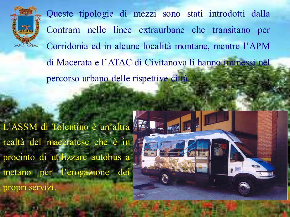 Queste tipologie di mezzi sono stati introdotti dalla Contram nelle linee extraurbane che transitano per Corridonia ed in alcune località montane, mentre l'APM di Macerata e l'ATAC di Civitanova li hanno immessi nel percorso urbano delle rispettive città.