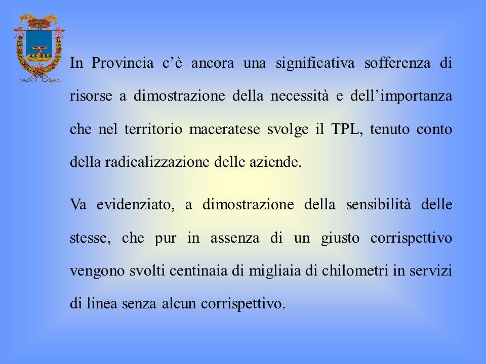 In Provincia c'è ancora una significativa sofferenza di risorse a dimostrazione della necessità e dell'importanza che nel territorio maceratese svolge il TPL, tenuto conto della radicalizzazione delle aziende.