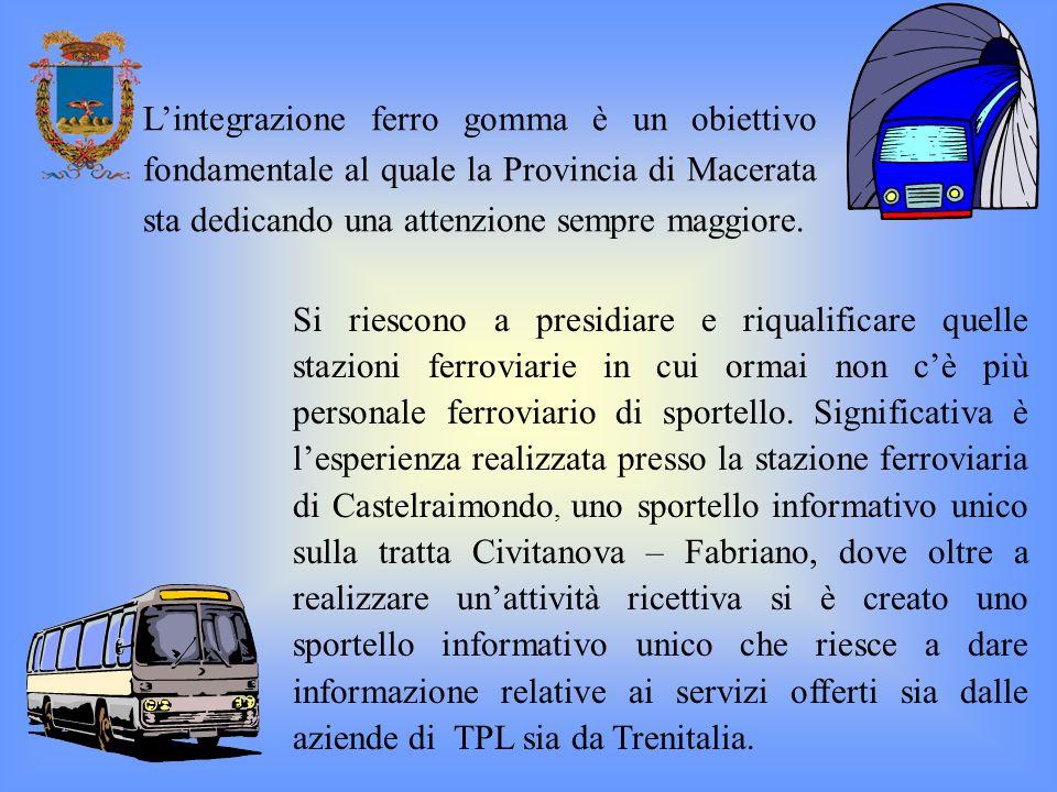 L'integrazione ferro gomma è un obiettivo fondamentale al quale la Provincia di Macerata sta dedicando una attenzione sempre maggiore.