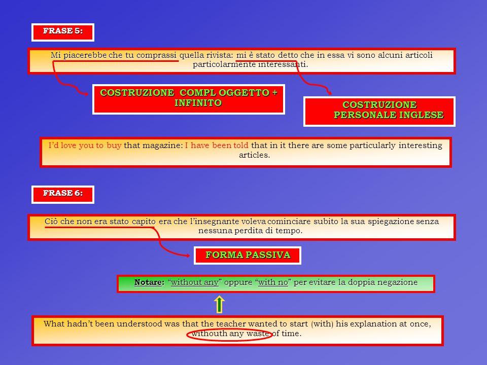 COSTRUZIONE COMPL OGGETTO + INFINITO COSTRUZIONE PERSONALE INGLESE