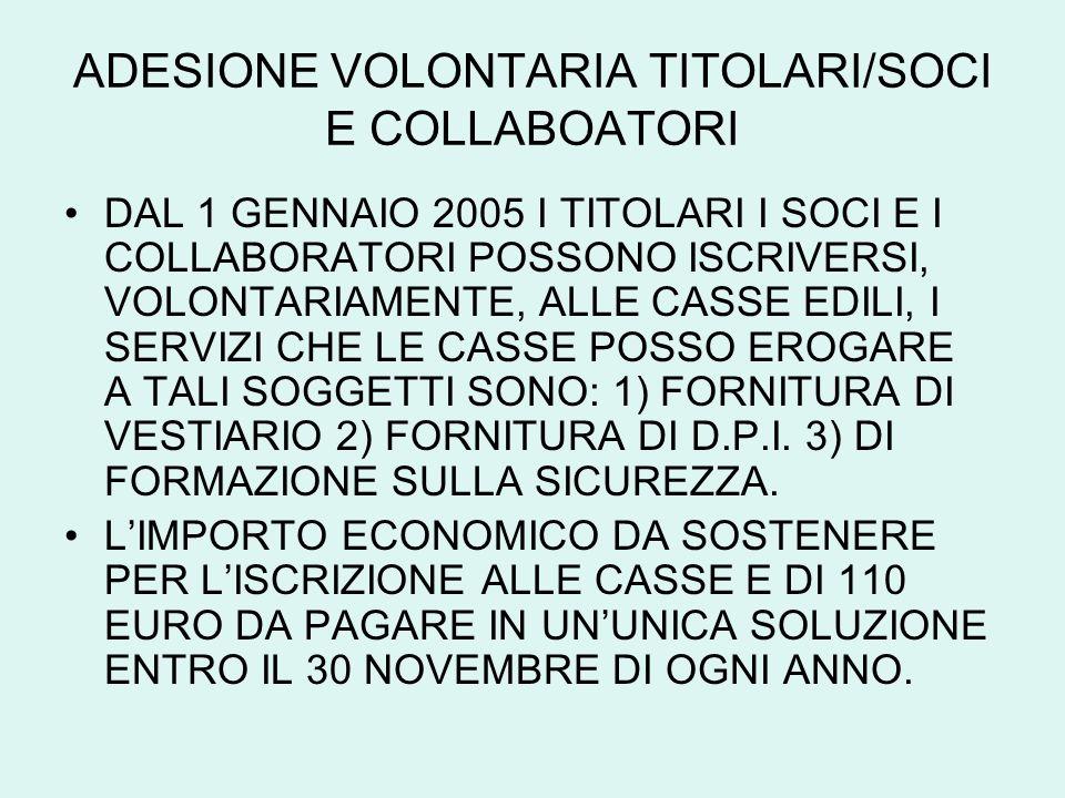 ADESIONE VOLONTARIA TITOLARI/SOCI E COLLABOATORI