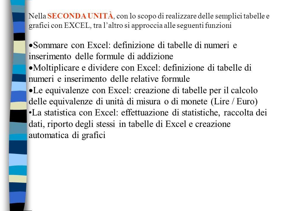 Nella SECONDA UNITÀ, con lo scopo di realizzare delle semplici tabelle e grafici con EXCEL, tra l'altro si approccia alle seguenti funzioni