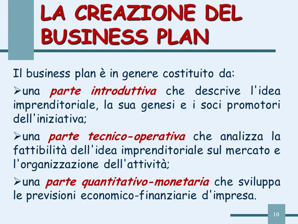 LA CREAZIONE DEL BUSINESS PLAN