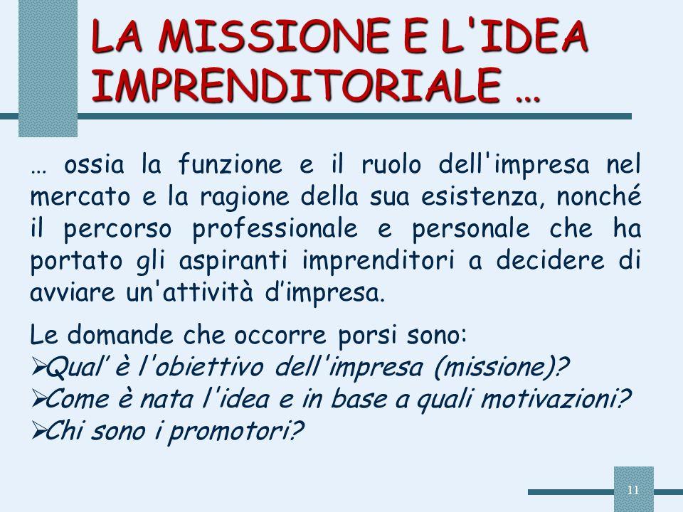 LA MISSIONE E L IDEA IMPRENDITORIALE …