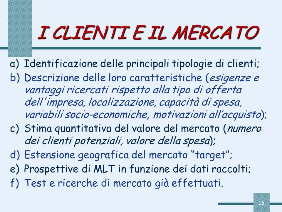 I CLIENTI E IL MERCATO Identificazione delle principali tipologie di clienti;