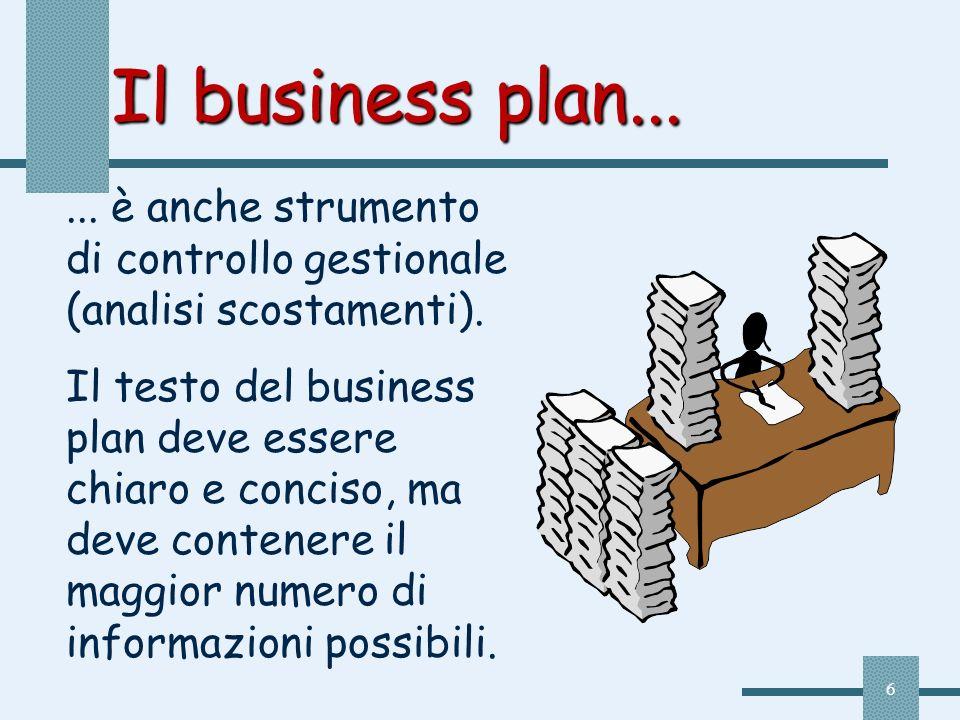 Il business plan... ... è anche strumento di controllo gestionale (analisi scostamenti).