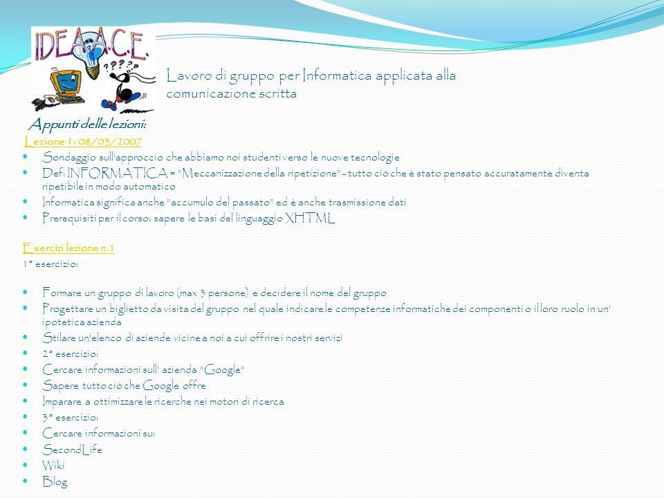 Lavoro di gruppo per Informatica applicata alla comunicazione scritta