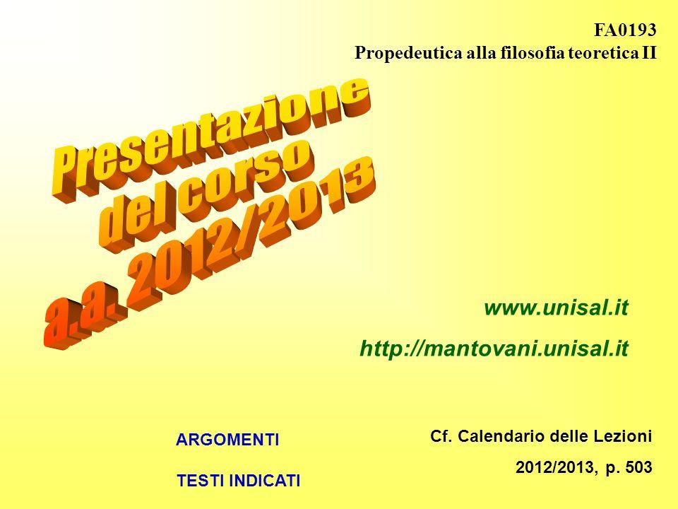 Presentazione del corso a.a. 2012/2013 www.unisal.it