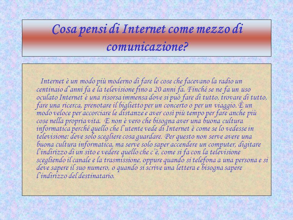 Cosa pensi di Internet come mezzo di comunicazione