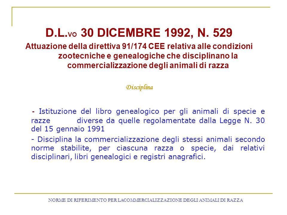 NORME DI RIFERIMENTO PER LACOMMERCIALIZZAZIONE DEGLI ANIMALI DI RAZZA
