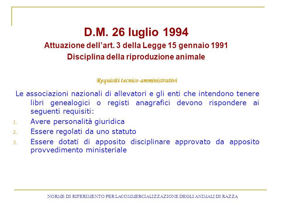D.M. 26 luglio 1994 Attuazione dell'art. 3 della Legge 15 gennaio 1991. Disciplina della riproduzione animale.