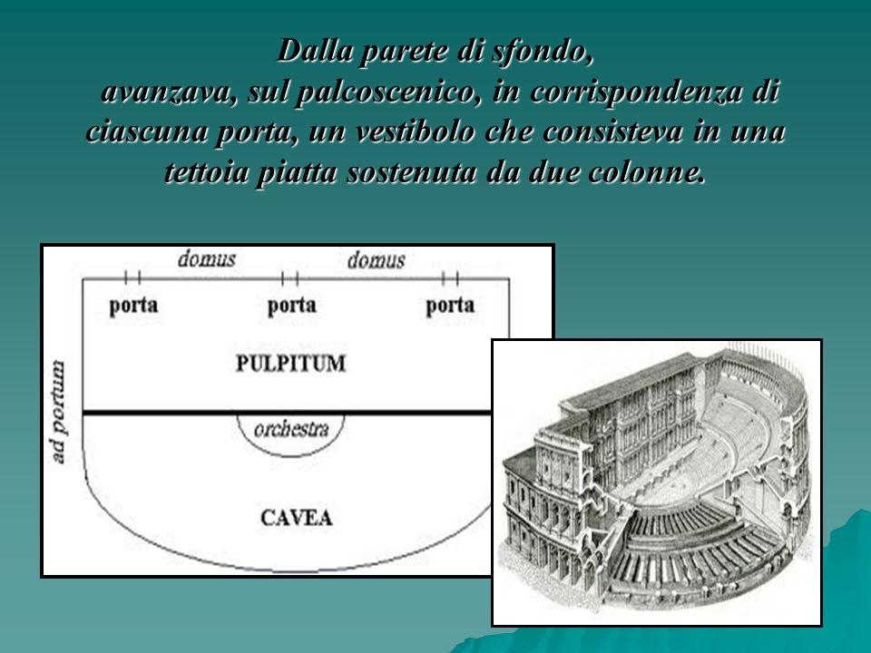 Dalla parete di sfondo, avanzava, sul palcoscenico, in corrispondenza di ciascuna porta, un vestibolo che consisteva in una tettoia piatta sostenuta da due colonne.