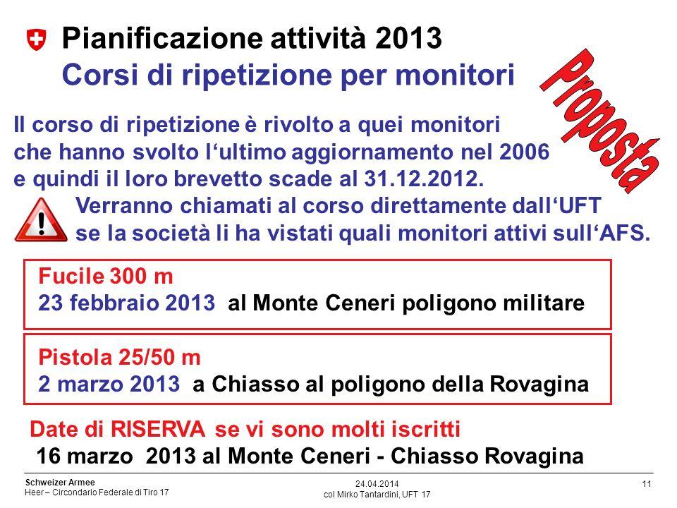 Pianificazione attività 2013 Corsi di ripetizione per monitori