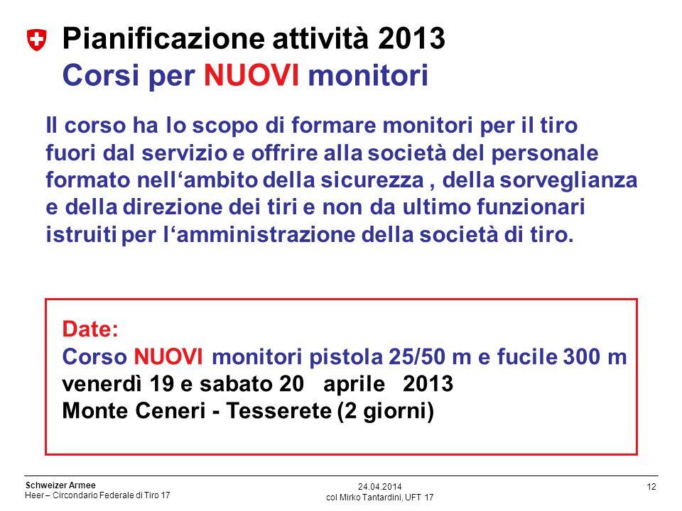 Pianificazione attività 2013 Corsi per NUOVI monitori