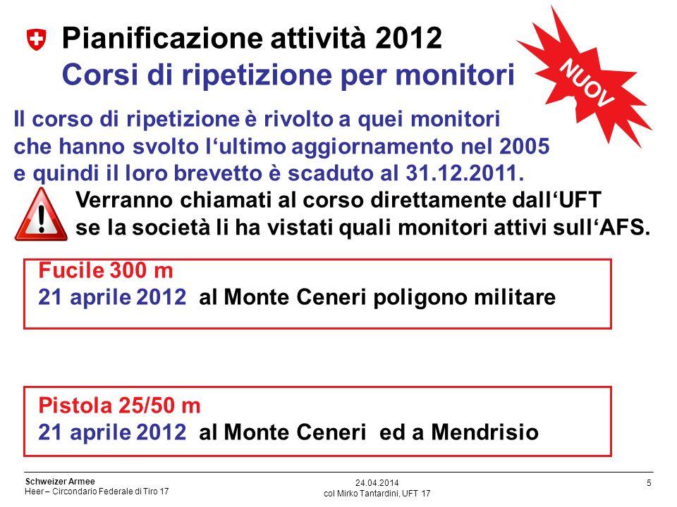 Pianificazione attività 2012 Corsi di ripetizione per monitori