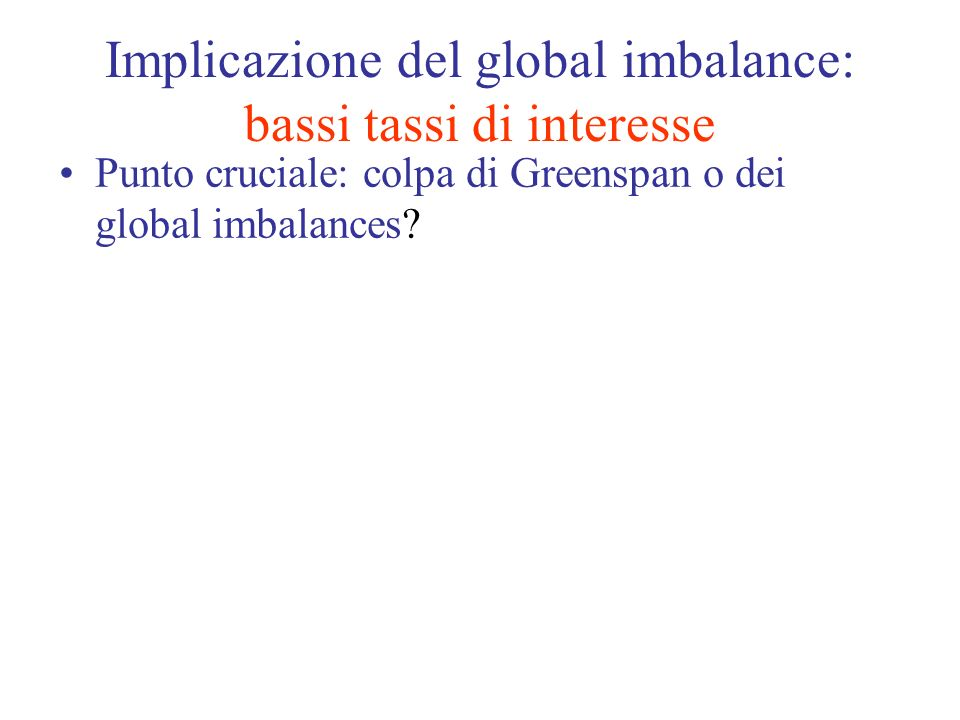 Implicazione del global imbalance: bassi tassi di interesse