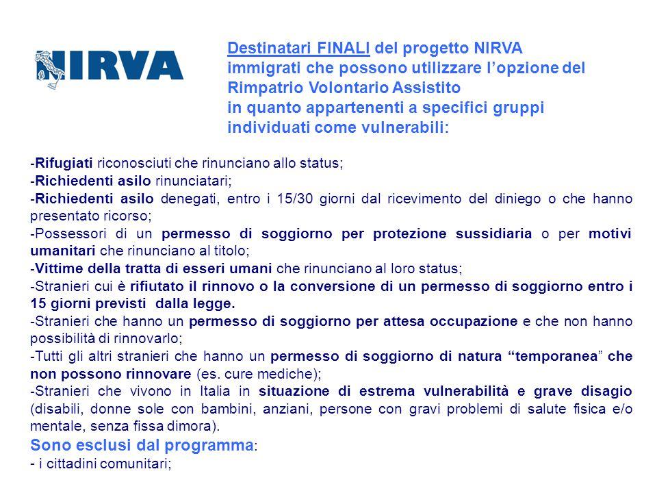 Destinatari FINALI del progetto NIRVA