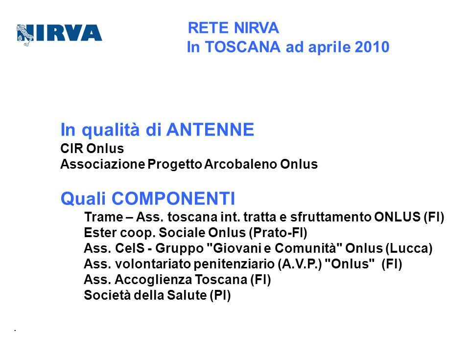 In qualità di ANTENNE Quali COMPONENTI In TOSCANA ad aprile 2010