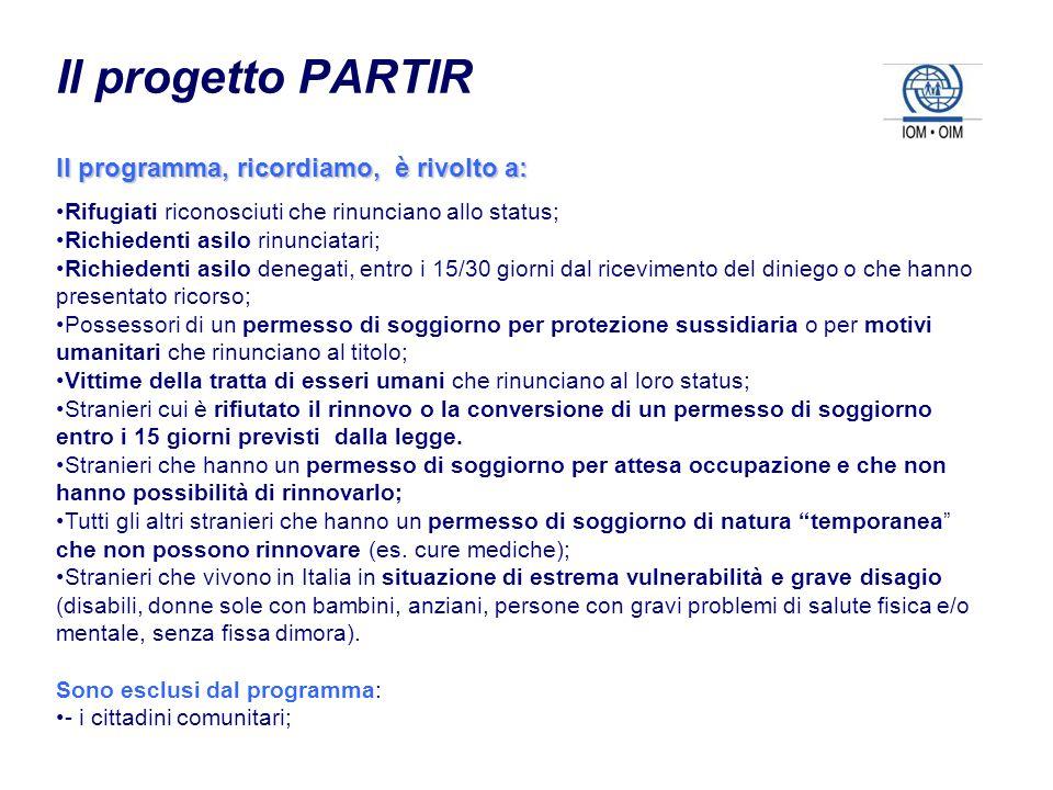 Il progetto PARTIR Il programma, ricordiamo, è rivolto a: