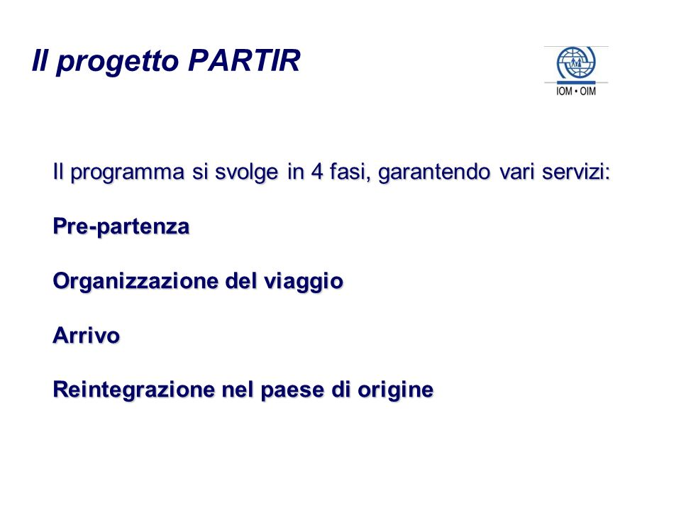 Il progetto PARTIR Il programma si svolge in 4 fasi, garantendo vari servizi: Pre-partenza. Organizzazione del viaggio.