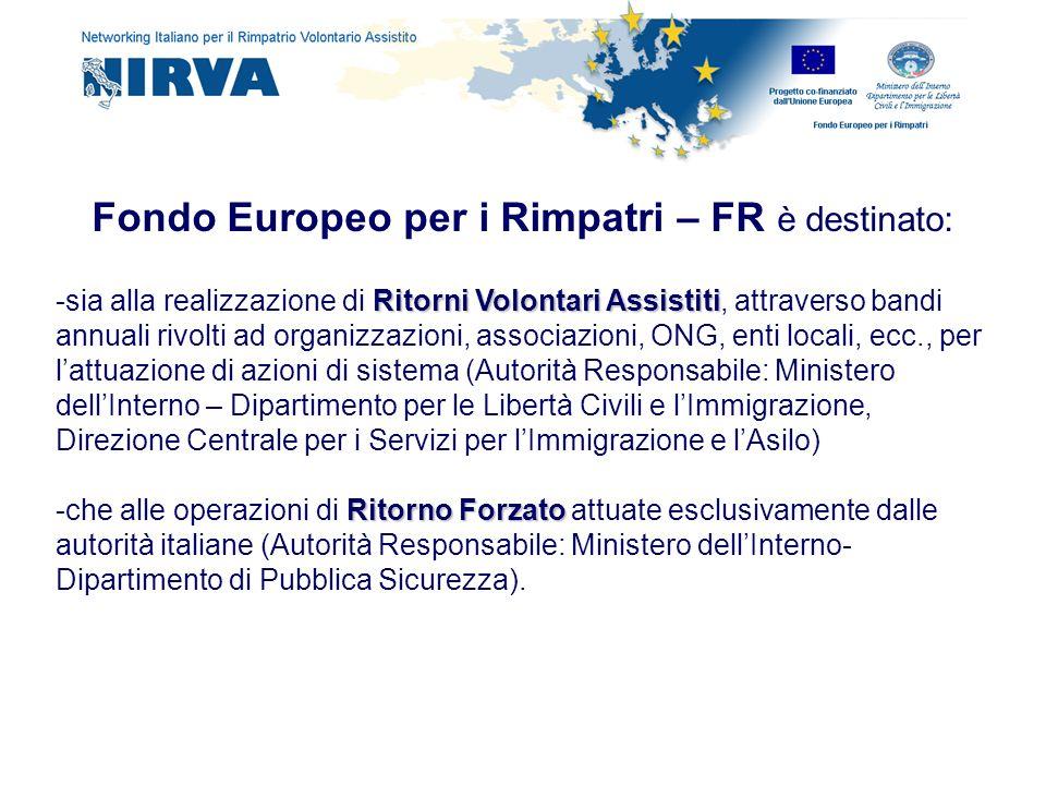 Fondo Europeo per i Rimpatri – FR è destinato: