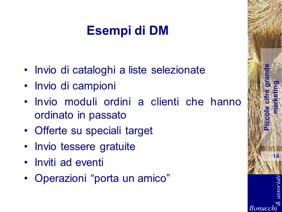 Esempi di DM Invio di cataloghi a liste selezionate Invio di campioni