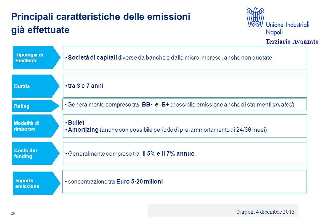 Principali caratteristiche delle emissioni già effettuate