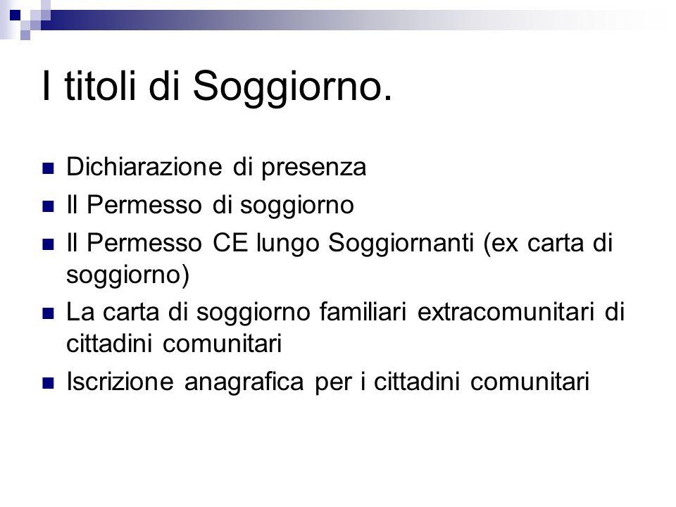 Corso immigrazione operatori ital ppt scaricare for Permesso di soggiorno illimitato per extracomunitari