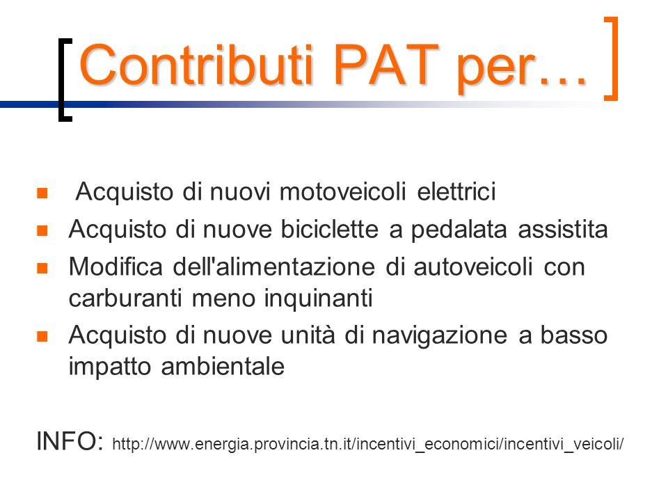 Contributi PAT per… Acquisto di nuovi motoveicoli elettrici