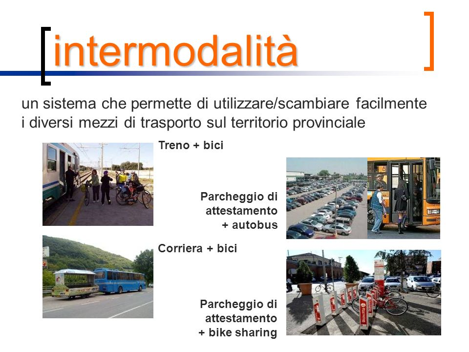 intermodalità un sistema che permette di utilizzare/scambiare facilmente i diversi mezzi di trasporto sul territorio provinciale.