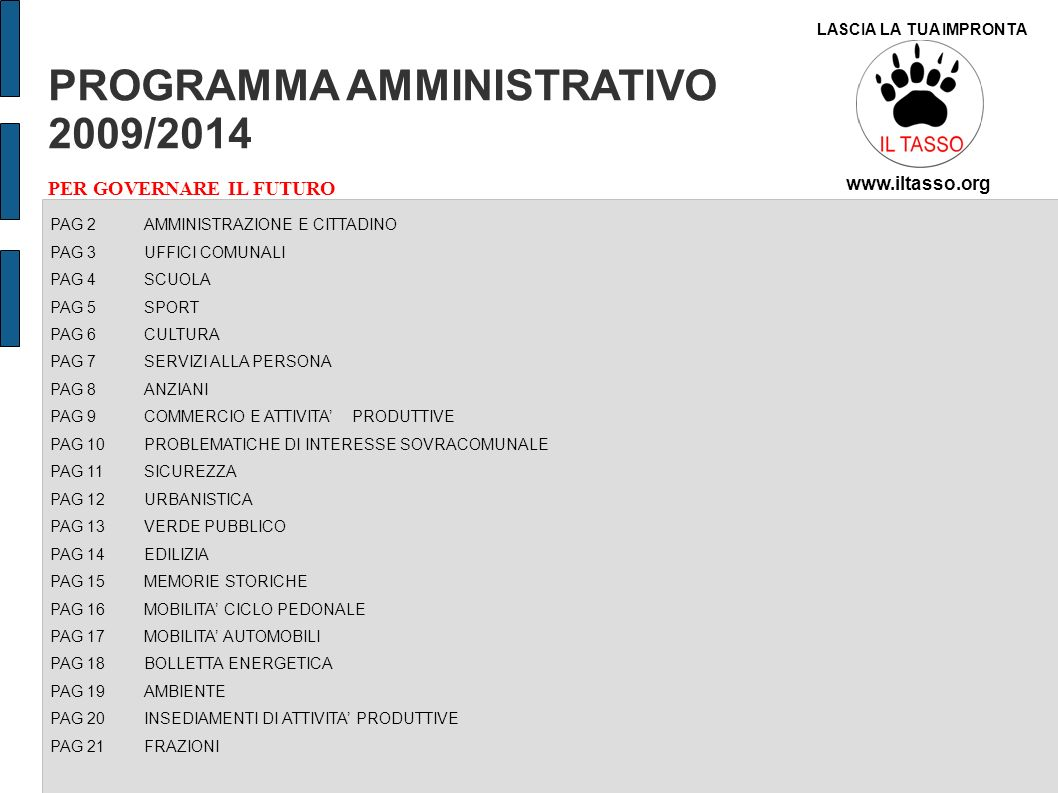 PROGRAMMA AMMINISTRATIVO 2009/2014