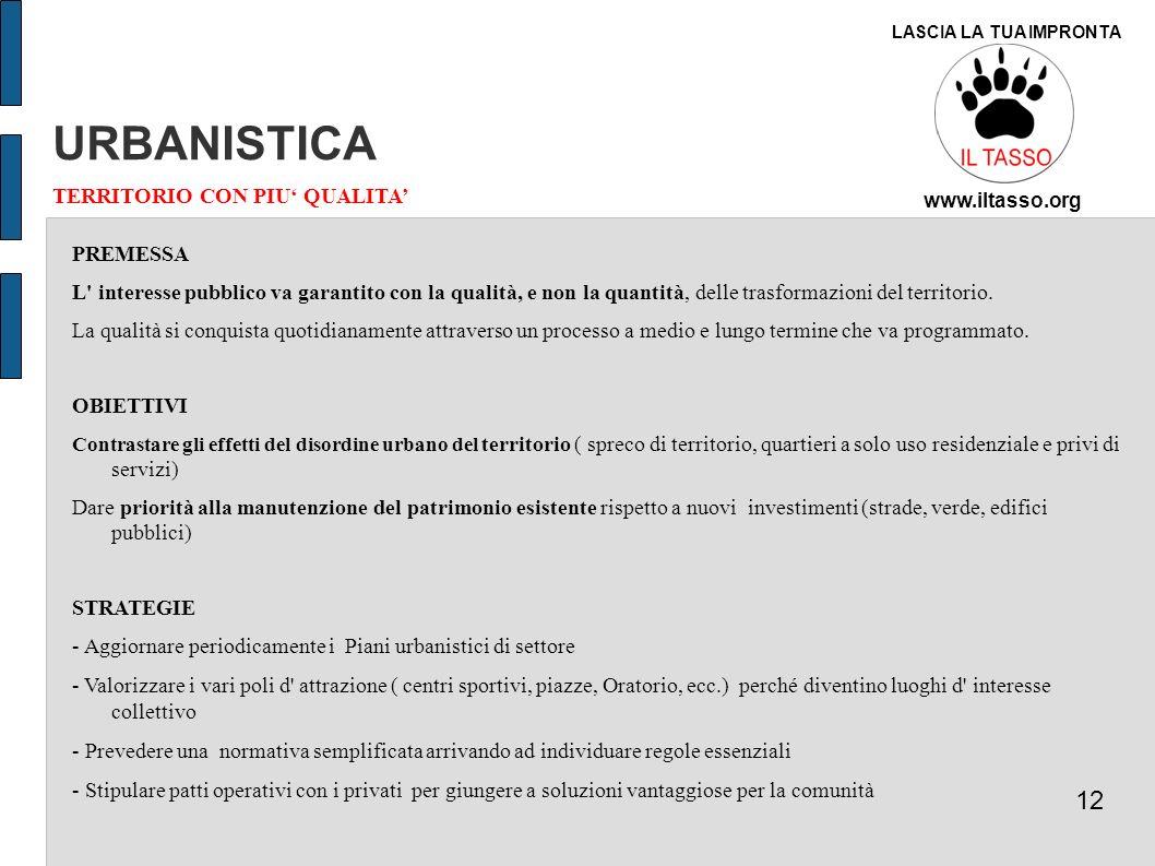 URBANISTICA 12 TERRITORIO CON PIU' QUALITA' PREMESSA