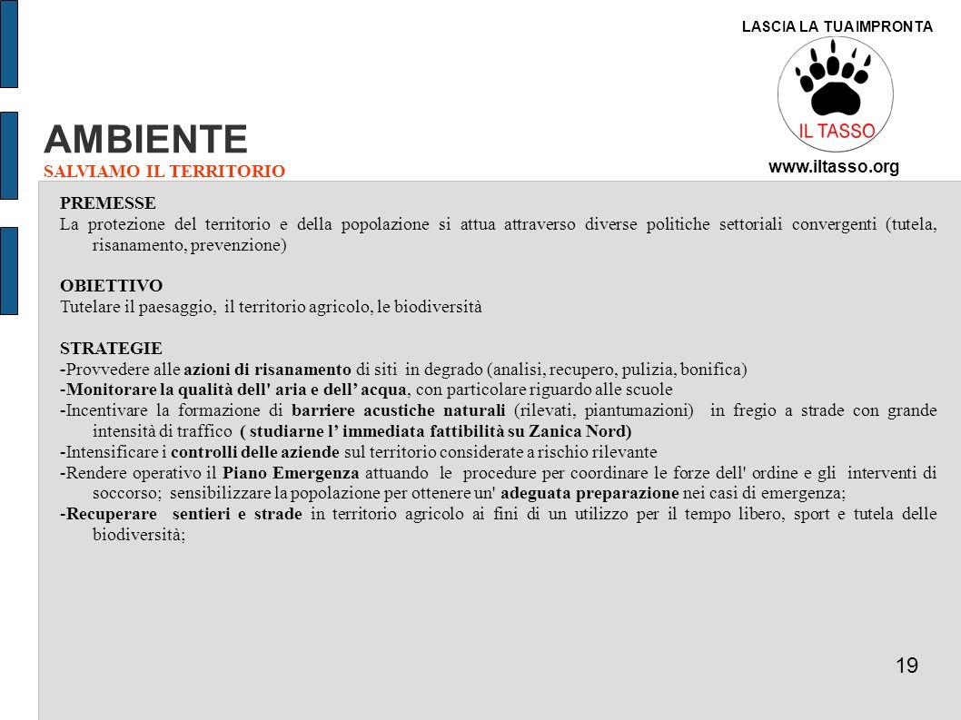 AMBIENTE 19 SALVIAMO IL TERRITORIO PREMESSE