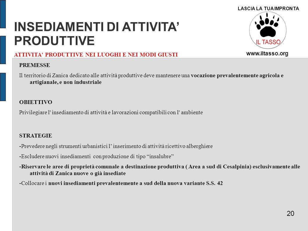 INSEDIAMENTI DI ATTIVITA' PRODUTTIVE