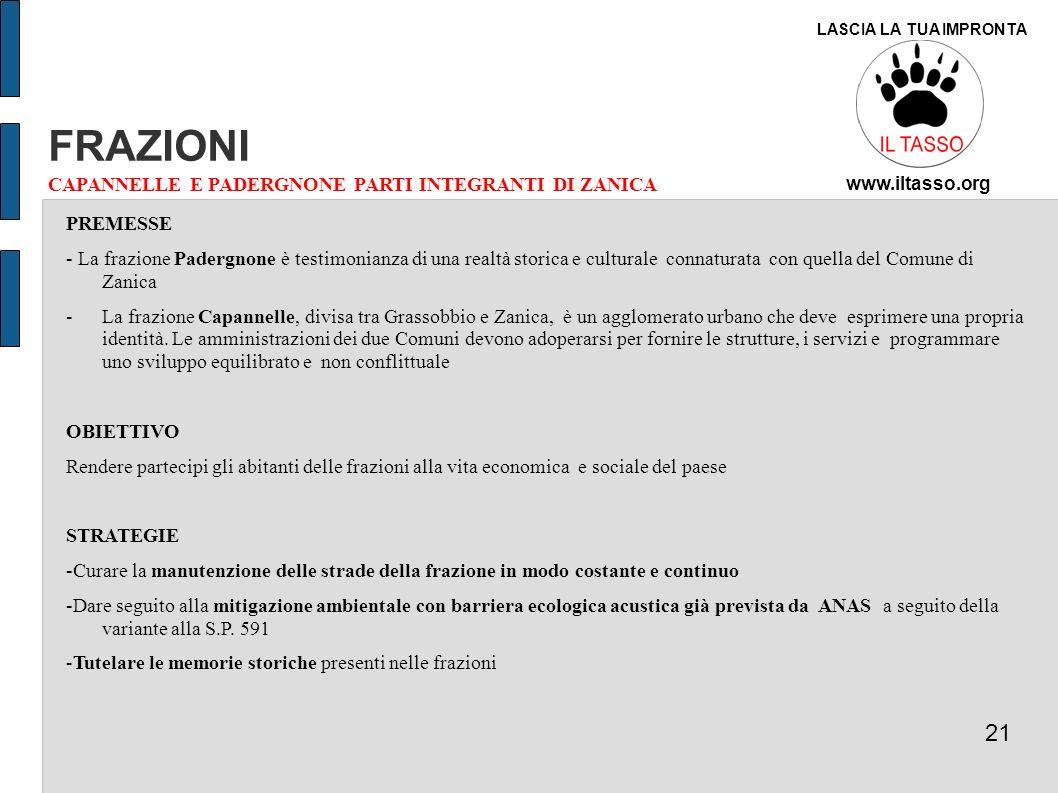 FRAZIONI 21 CAPANNELLE E PADERGNONE PARTI INTEGRANTI DI ZANICA