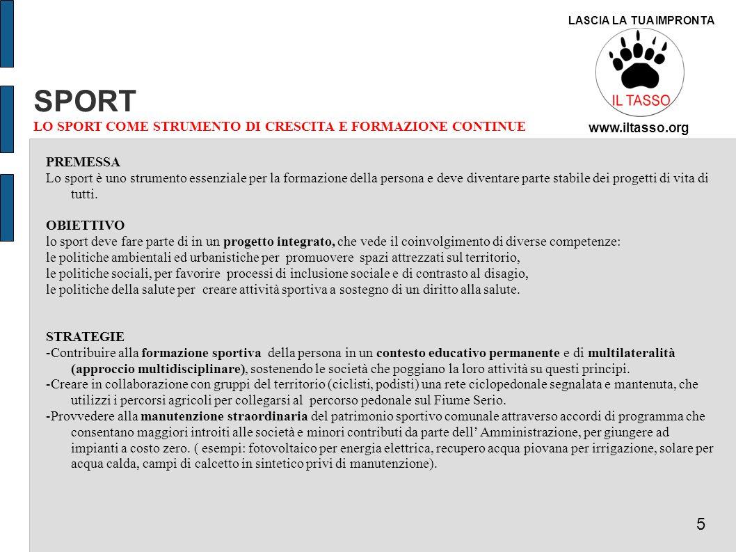 SPORT 5 LO SPORT COME STRUMENTO DI CRESCITA E FORMAZIONE CONTINUE